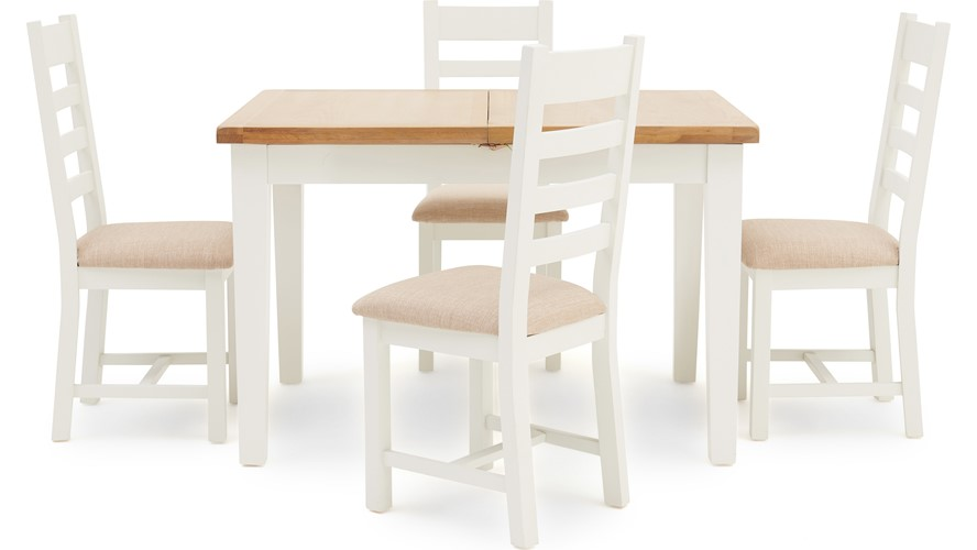 St Ives 120cm Extending Table & 4 Ladder Back Chairs