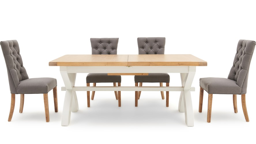 St Ives 180cm Cross Extending Table & 4 Cranbrook Curved Dining Chairs