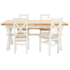 St Ives 180cm Cross Extending Table & 4 Cross Back Chairs