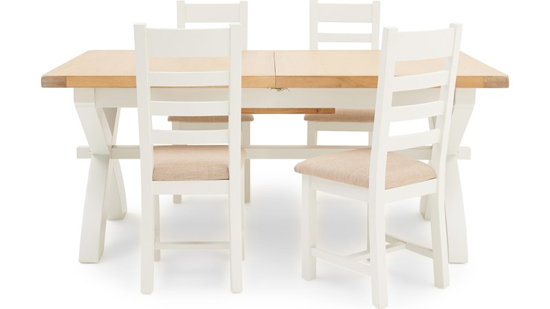 St Ives 180cm Cross Extending Table & 4 Ladder Back Chairs