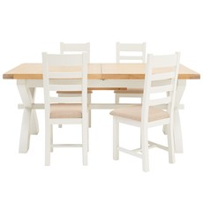 St Ives 180cm Cross Extending Table & 4 Ladder Back Chairs