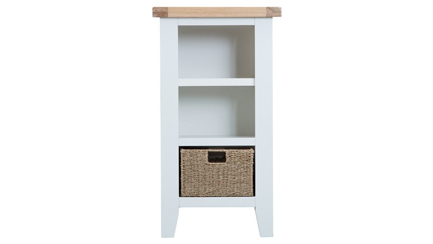 St Ives Small Narrow Bookcase - White