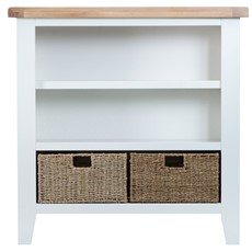 St Ives Small Wide Bookcase - White