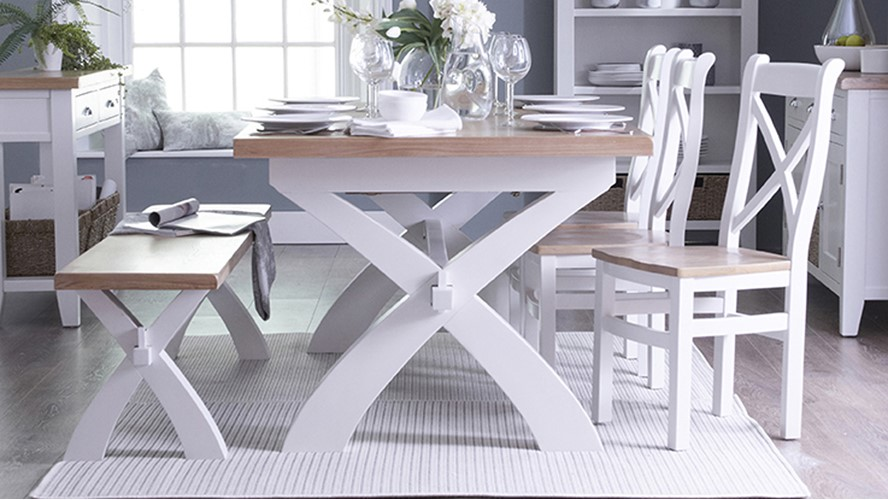 St Ives Fabric Cross Back Dining Chair - White