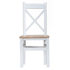 St Ives Wooden Cross Back Dining Chair - White