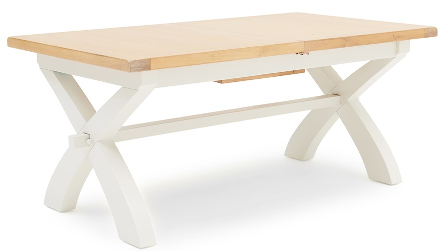 St Ives 180cm Cross Extending Dining Table - White